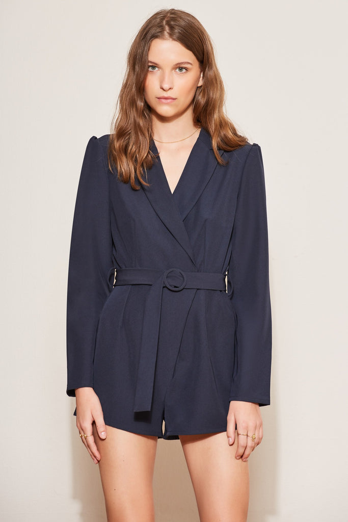 CURVEBALL LONG SLEEVE PLAYSUIT navy
