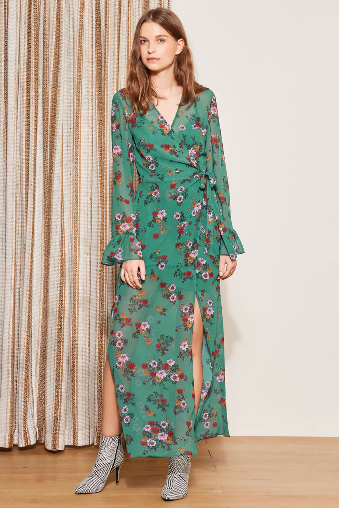 KEYSTONE WRAP DRESS myrtle green floral