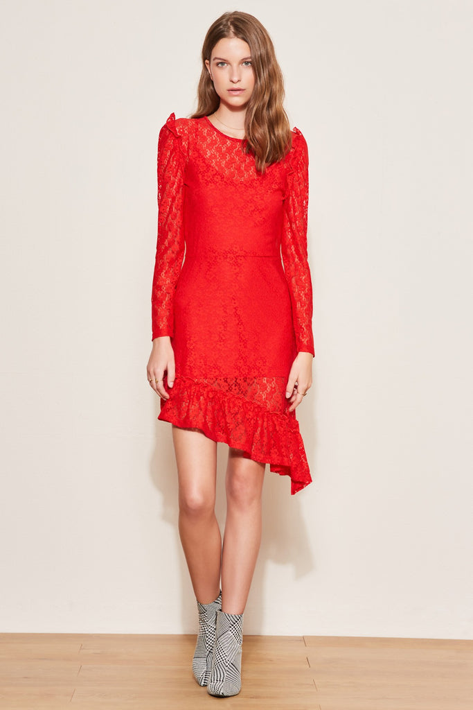 PAVILLION LONG SLEEVE DRESS red