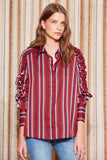 VOLLEY STRIPE LONG SLEEVE SHIRT wine w red