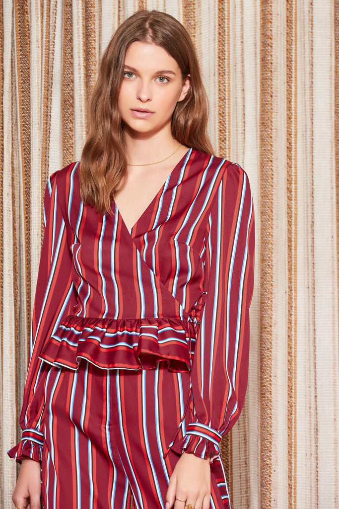 VOLLEY STRIPE LONG SLEEVE WRAP TOP wine w red