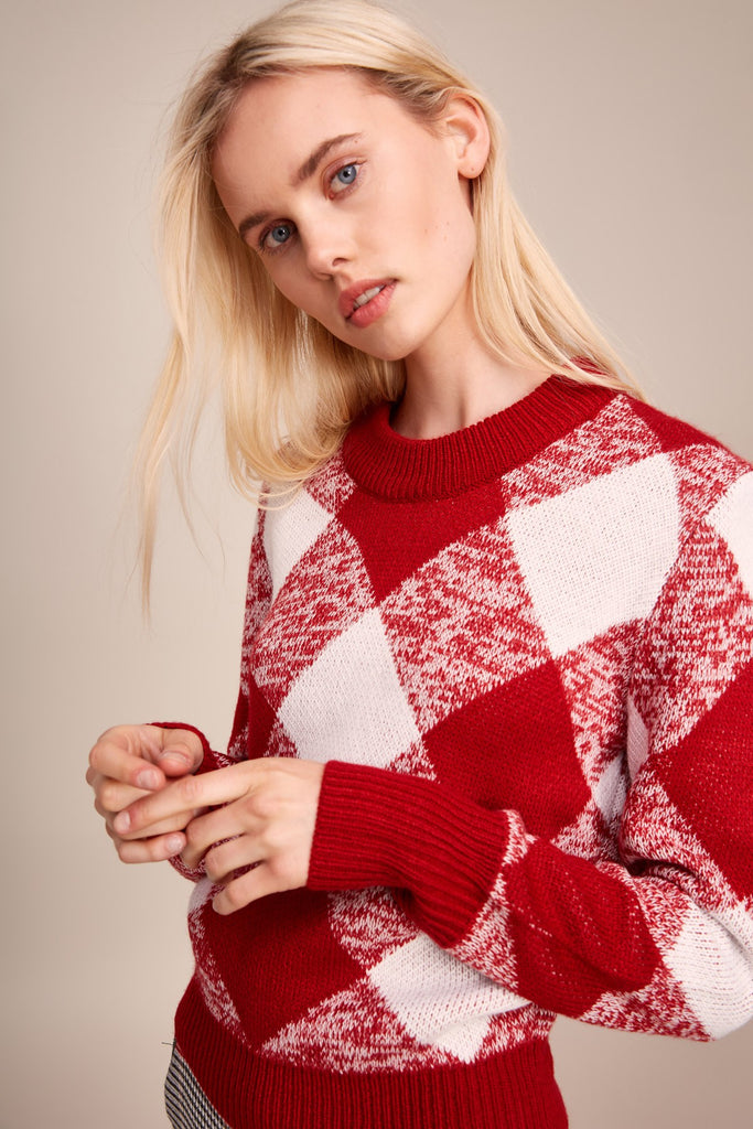 ANGLE KNIT red w white