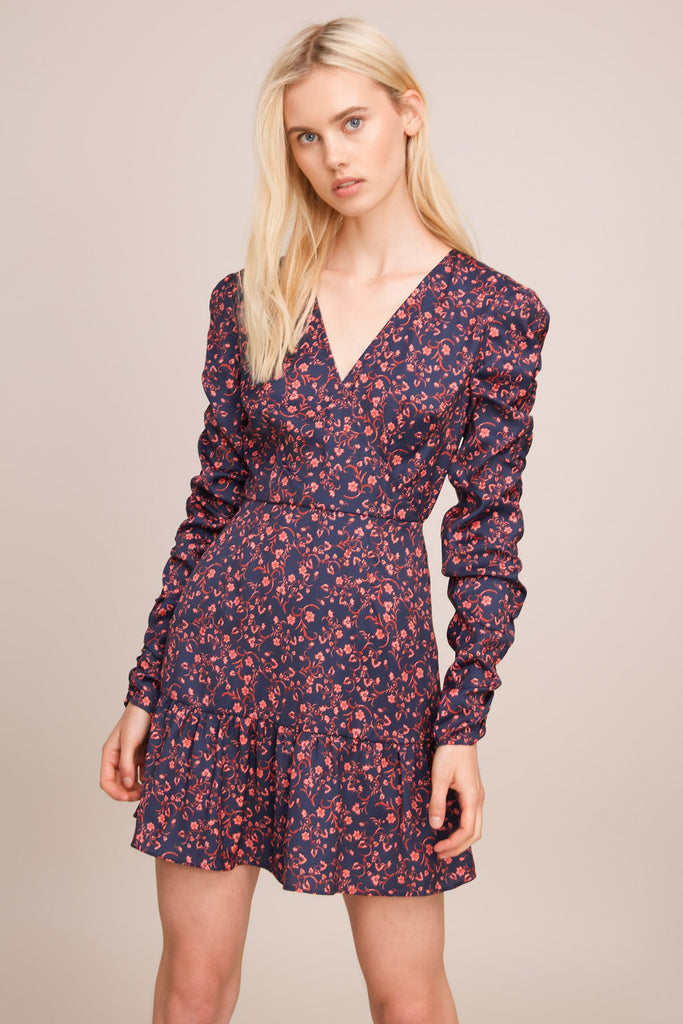 ARCHER LONG SLEEVE DRESS navy w pink