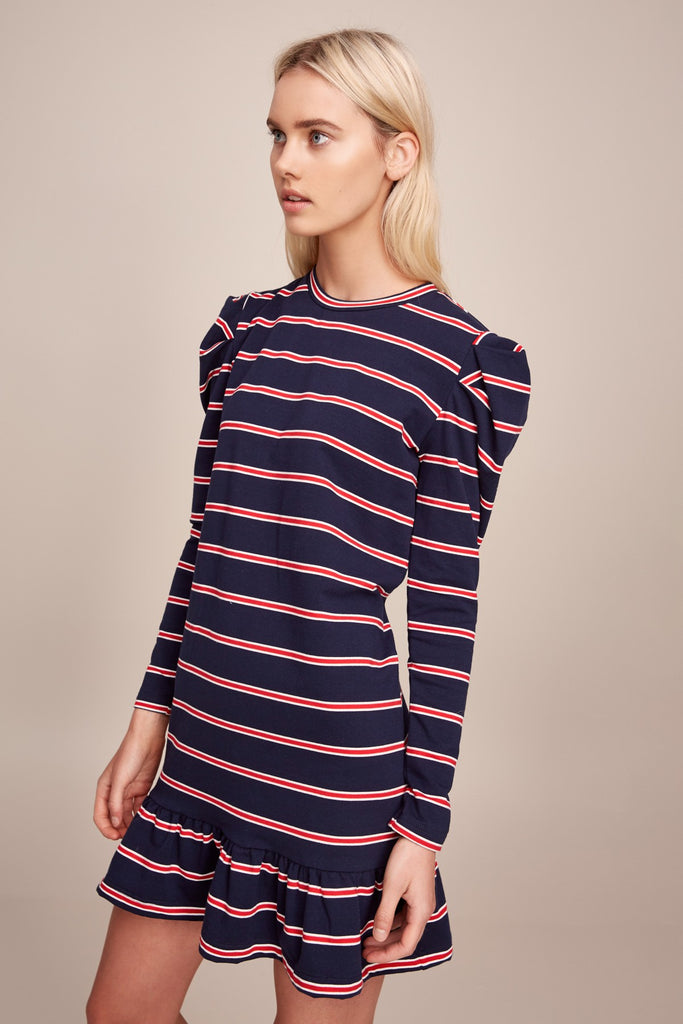 KINETIC STRIPE LONG SLEEVE DRESS navy w red