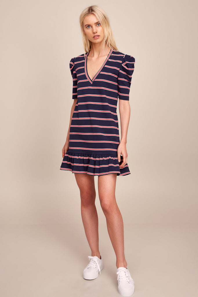 KINETIC STRIPE SHORT SLEEVE DRESS navy w red