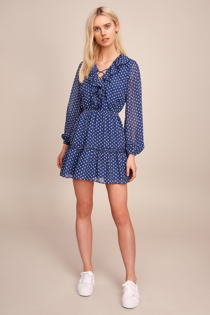 TITANIA LONG SLEEVE DRESS blue w white