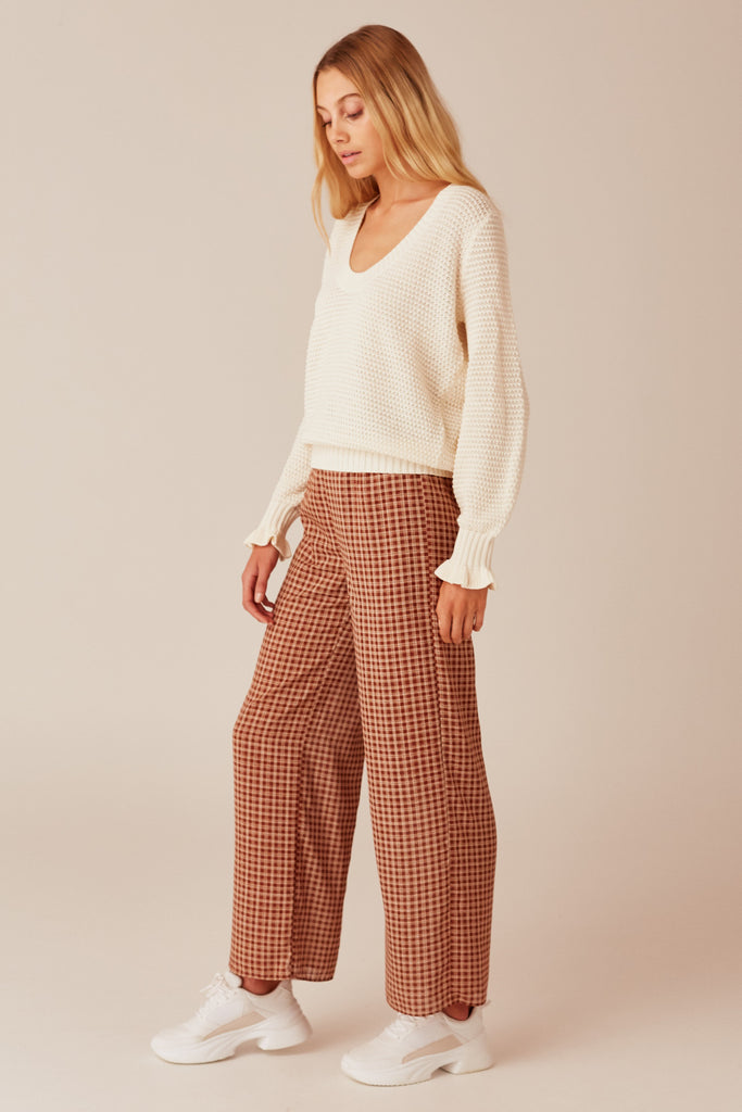 LONGITUDE CHECK PANT toffee w cream