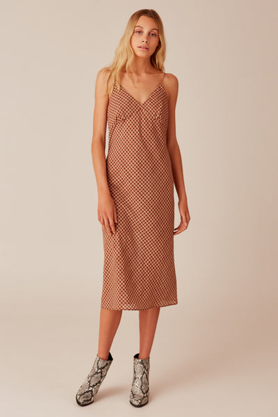 LONGITUDE CHECK DRESS toffee w cream