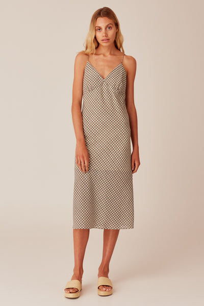 LONGITUDE CHECK DRESS ivory w black