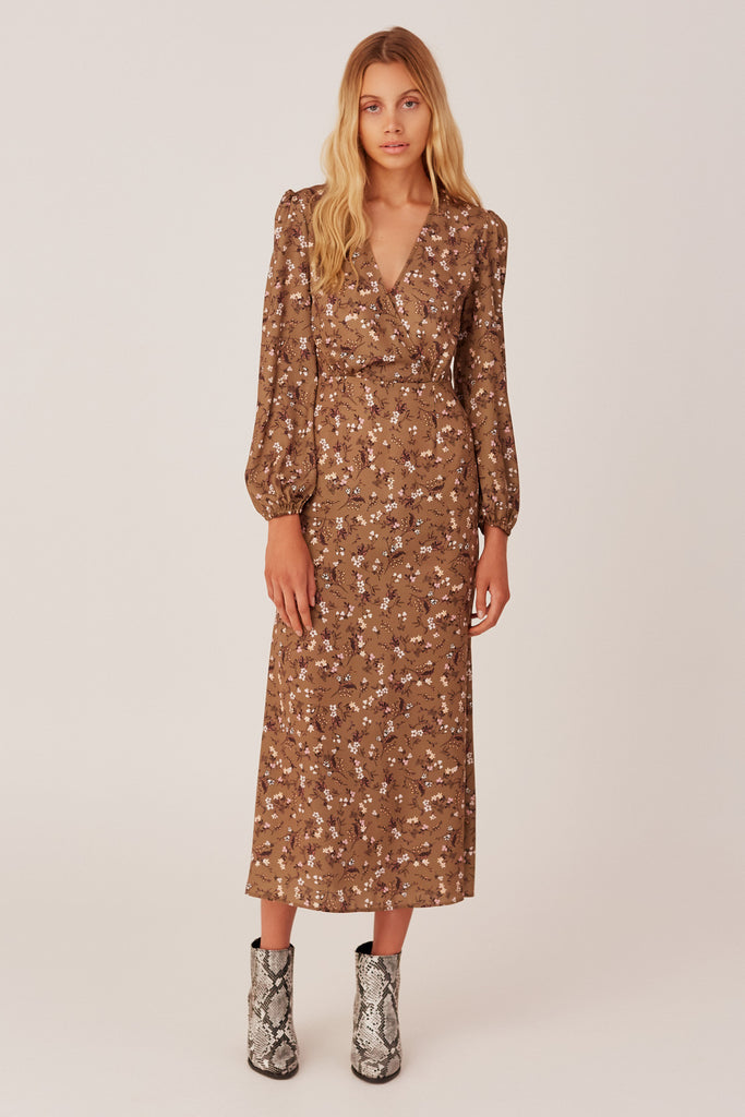 MEMOIR LONG SLEEVE DRESS khaki floral