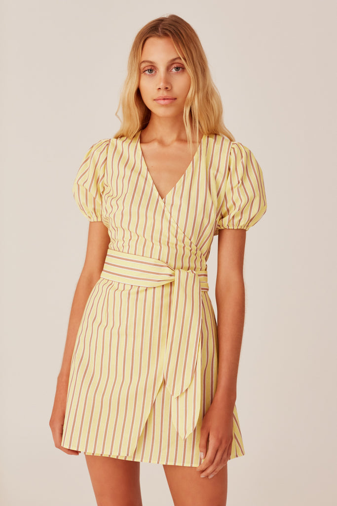 CHRONICLE STRIPE DRESS yellow w sand