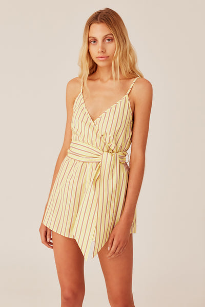 CHRONICLE STRIPE PLAYSUIT yellow w sand