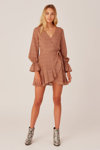 LONGITUDE CHECK LONG SLEEVE DRESS toffee w cream