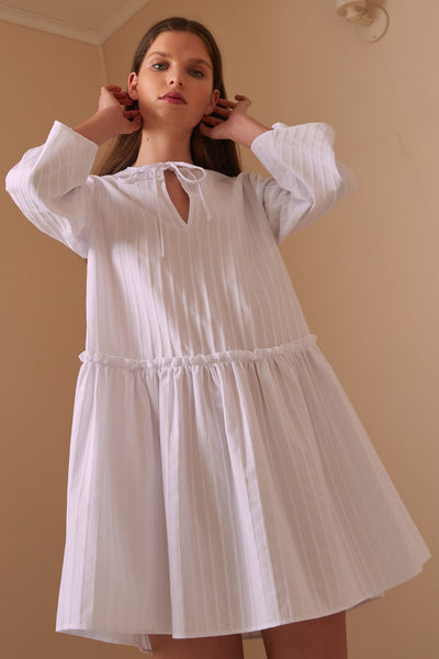 POPPY STRIPE LONG SLEEVE DRESS white