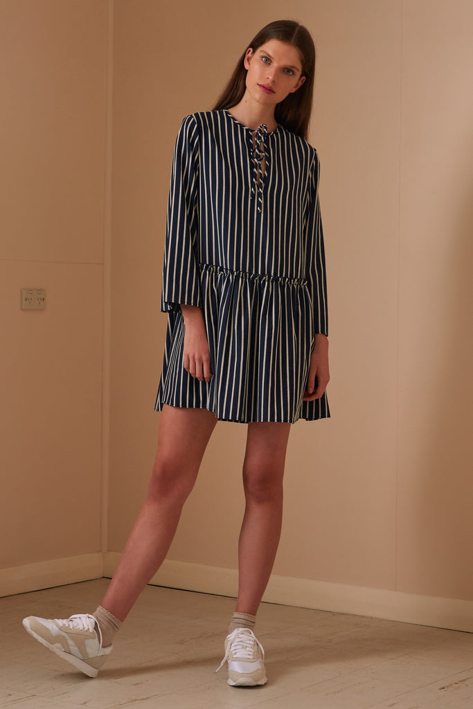 POPPY STRIPE LONG SLEEVE DRESS navy w white