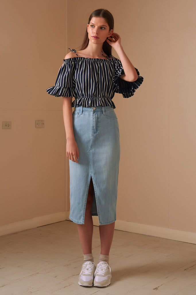 POPPY STRIPE TOP navy w white