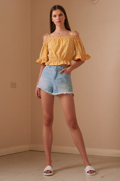 POPPY STRIPE TOP yellow w white