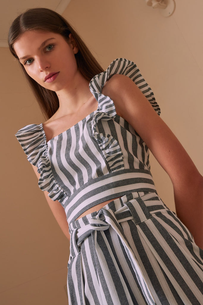 FLORA STRIPE TOP charcoal w white