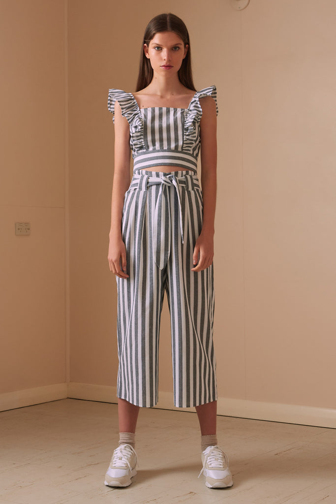 FLORA STRIPE PANT charcoal w white