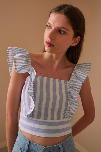 FLORA STRIPE TOP sky w white