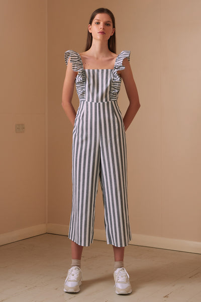 FLORA STRIPE JUMPSUIT charcoal w white