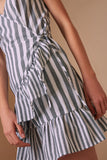 FLORA STRIPE DRESS charcoal w white