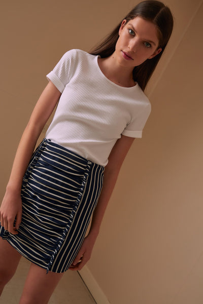 POPPY STRIPE SKIRT navy w white