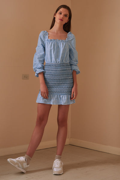 IRIS CHECK LONG SLEEVE DRESS blue w white