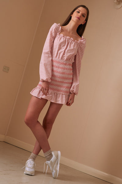 IRIS CHECK LONG SLEEVE DRESS peach w white