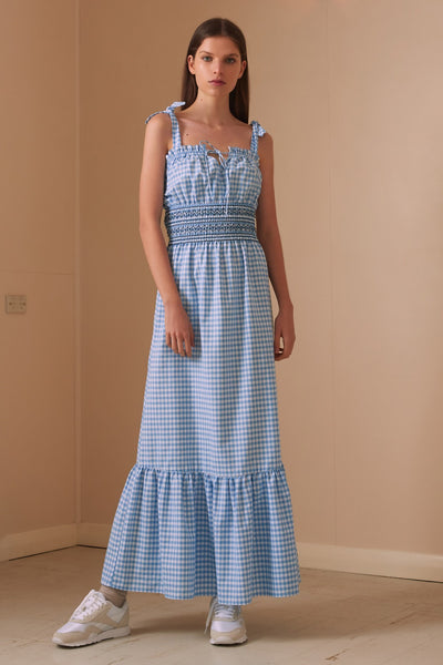 IRIS CHECK MAXI DRESS blue w white
