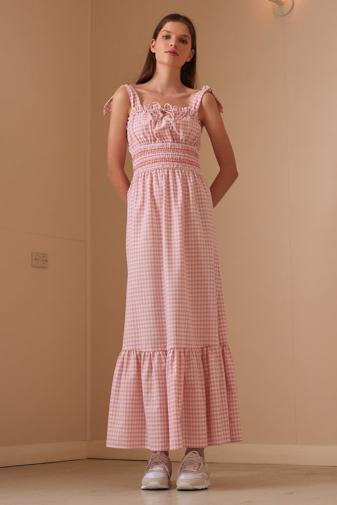 IRIS CHECK MAXI DRESS peach w white