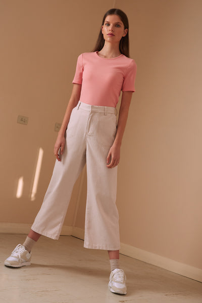 BILLIE STRIPE PANT sand w white