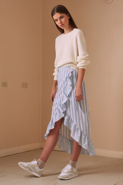 FLORA STRIPE SKIRT sky w white