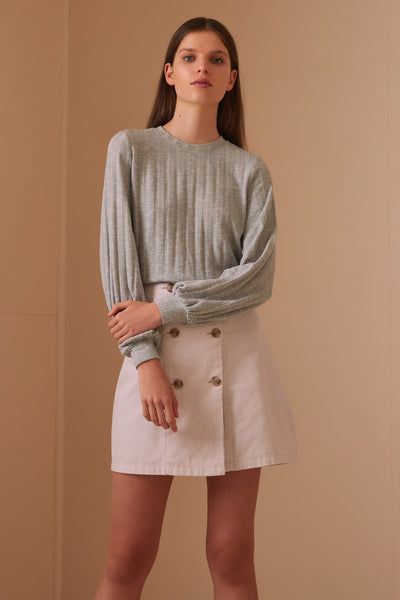 JASMINE LONG SLEEVE TOP grey marle