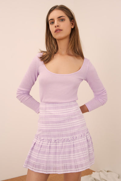 IVY STRIPE SKIRT lilac w white