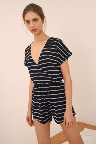 CAPTAIN STRIPE PLAYSUIT navy w white