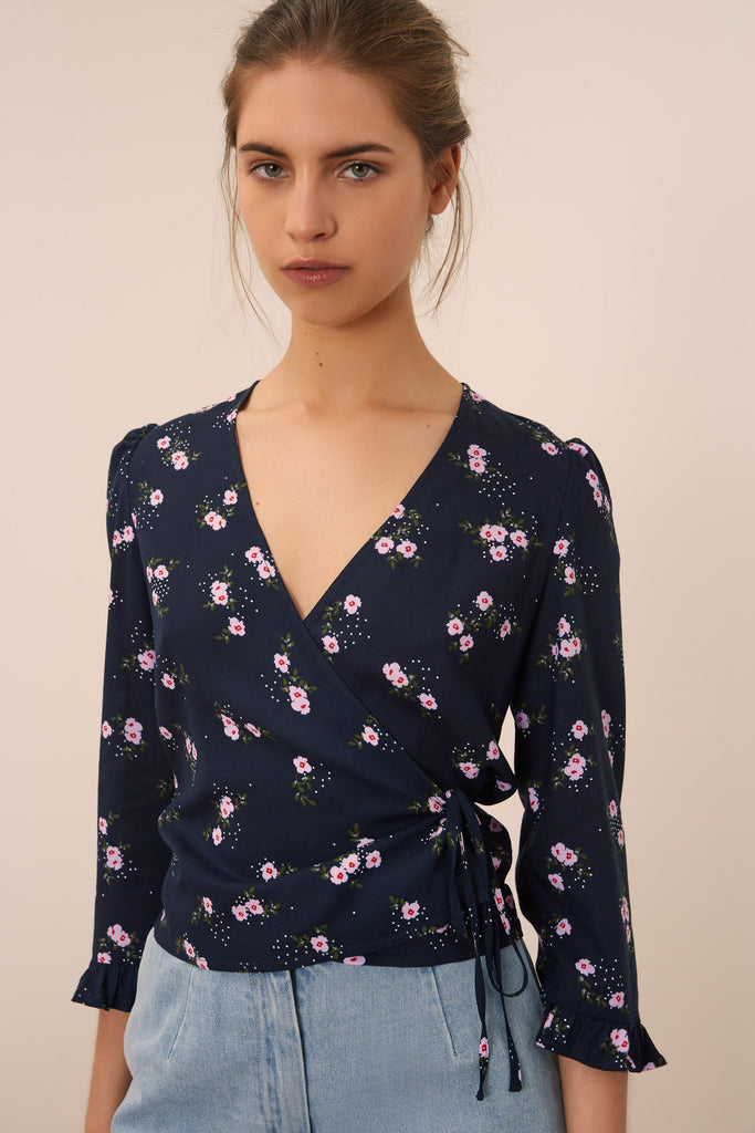 SUNNY LONG SLEEVE TOP navy floral