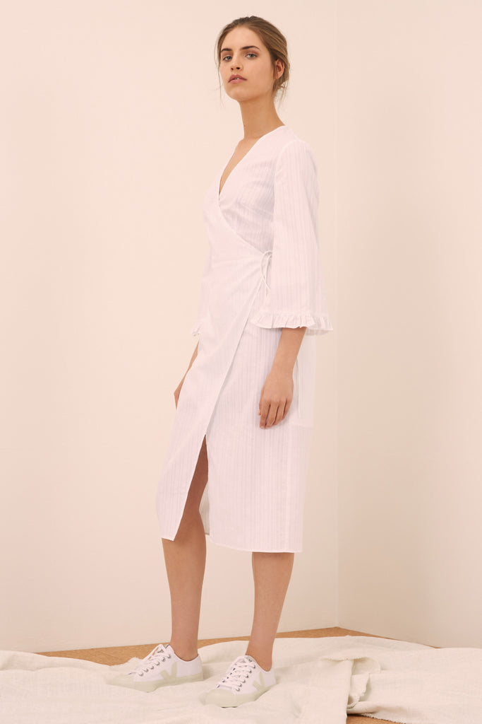ALLEGRA LONG SLEEVE DRESS white