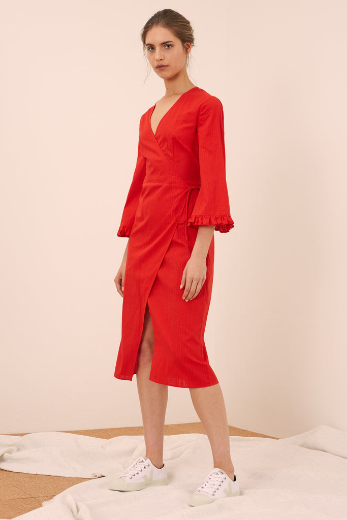 ALLEGRA LONG SLEEVE DRESS red