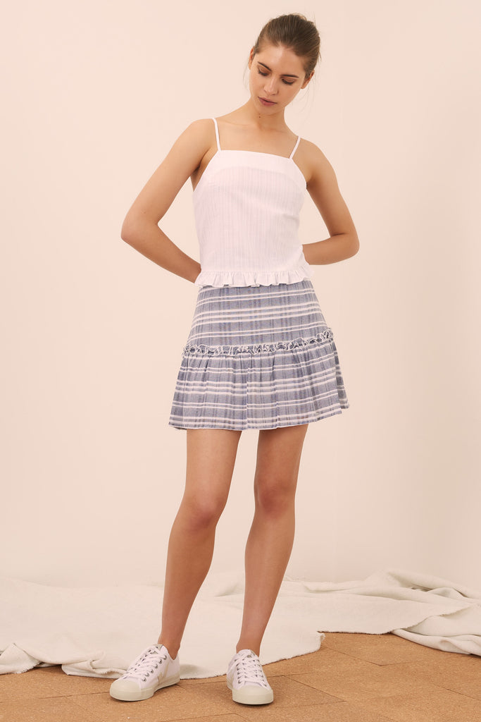 IVY STRIPE SKIRT navy w white