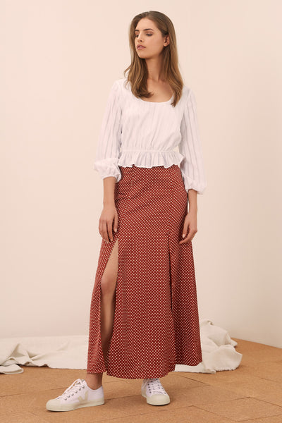 FOUNTAIN SKIRT rust w white