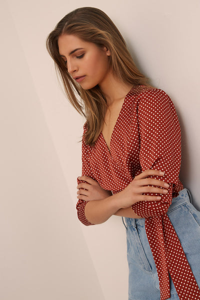 FOUNTAIN LONG SLEEVE TOP rust w white