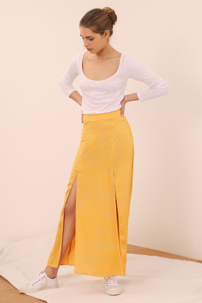 FOUNTAIN SKIRT honey w white