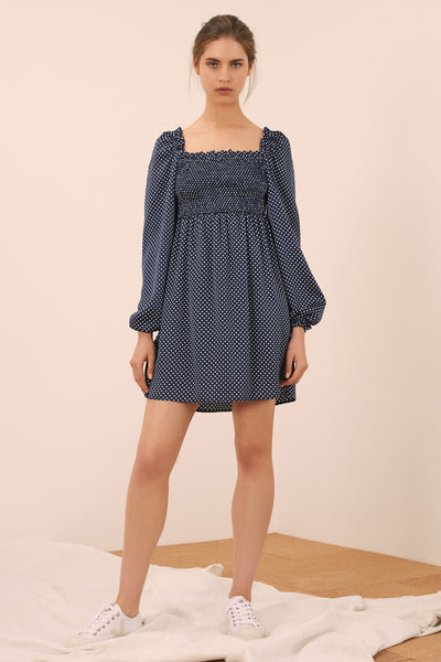 FOUNTAIN LONG SLEEVE DRESS navy w white