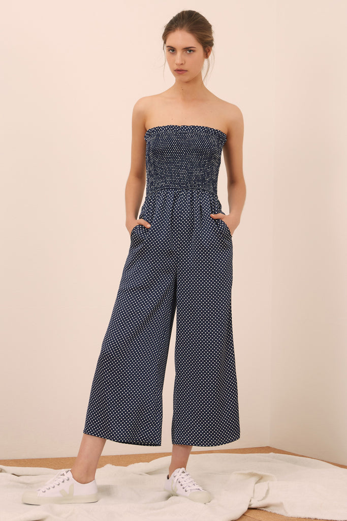 FOUNTAIN JUMPSUIT navy w white
