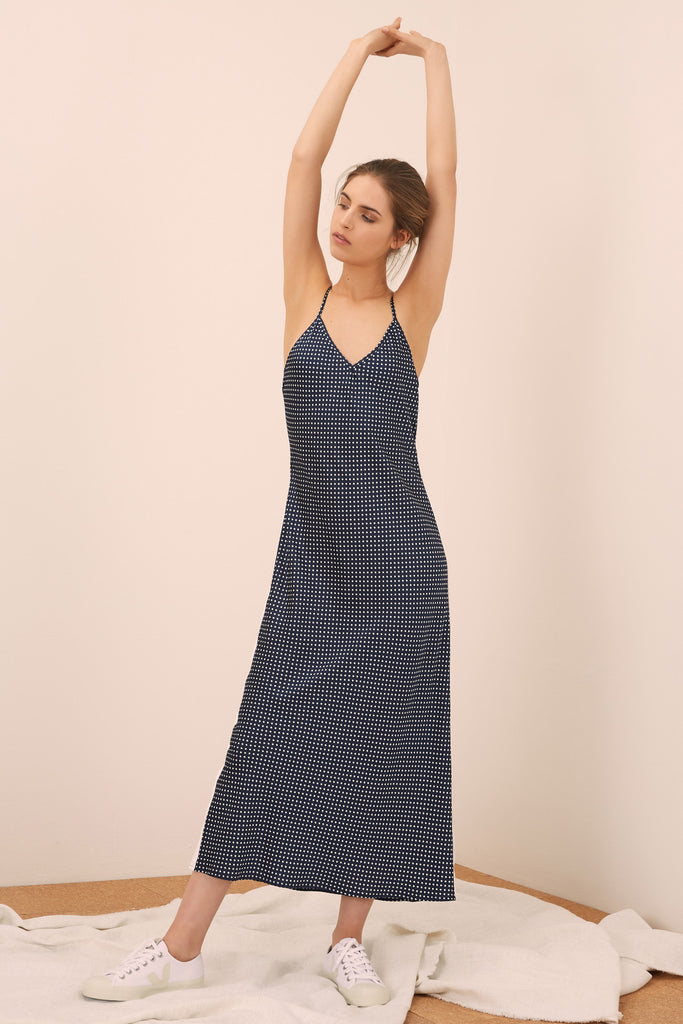 FOUNTAIN DRESS navy w white