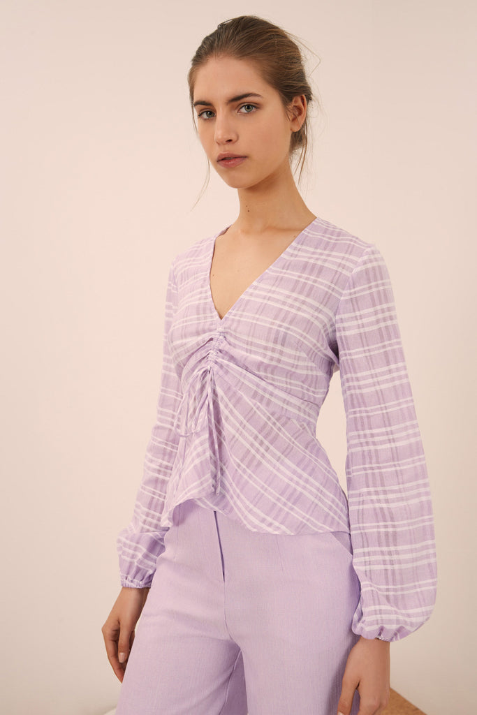 IVY STRIPE LONG SLEEVE TOP lilac w white