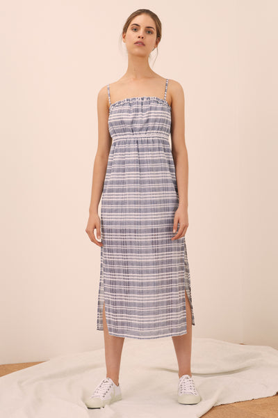 IVY STRIPE DRESS navy w white