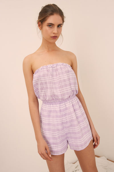 IVY STRIPE PLAYSUIT lilac w white