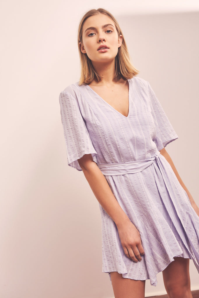 COAST STRIPE DRESS lavender w white
